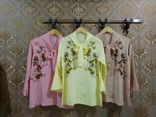 Fashion wanita tunic flower buttons