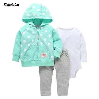 Baby Girl 3 Piece Jacket Boy Romper Pants Gift Set #babydivision