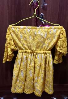 Yellow Off Shoulder Lace Dress