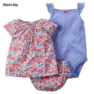 Floral Bits 3 Piece Romper Shirt Shorts Baby Girl Set #babydivision