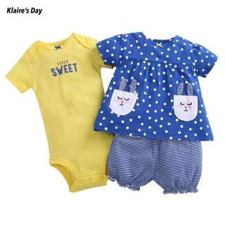 Blue Yellow Day Baby Girl 3 Piece Romper Shorts Shirt Set #babydivision