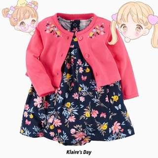 Baby Girl Floral Bits Dress + Cardigan Set #babydivision