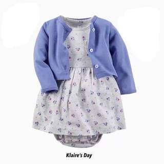 Floral Bits Blue Cardigan + Dress Baby Girl Set #babydivision