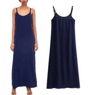 🚚 Europe and the United States new style solid color strap long dress female halter dress