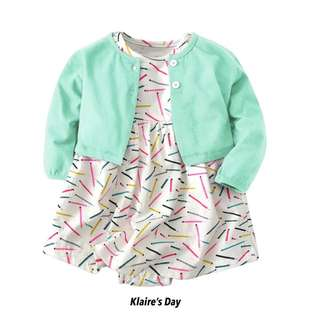Turquoise Mint Cardigan + Neon Sticks Dress Baby Girl Set #babydivision