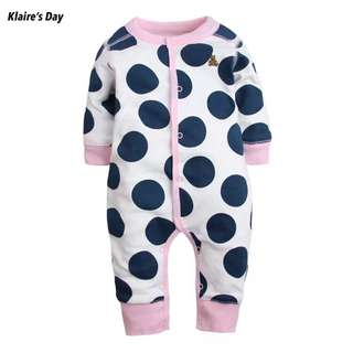 Moomoo Cow Polka Dot Baby Girl Boy Sleep Suit Long Sleeve Romper #babydivision