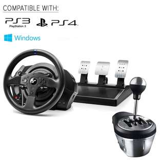 (Bundle) Thrustmaster T300RS GT Sim Racing Wheel Paddle Set + TH8A H Shifter for PC and Playstation - Mint Condition