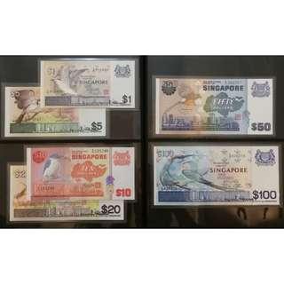 Singapore Bird Series Dollar Notes Set,  $100, $50, $20, $10, $5, $1