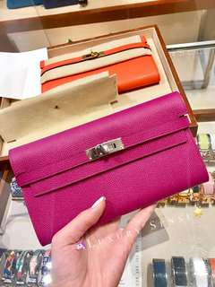 ✨剛6月買入! 🦄Hermes✨💗Kelly Wallet Rose Pourpre L3 桃紫色 phw銀扣 C年 $25500