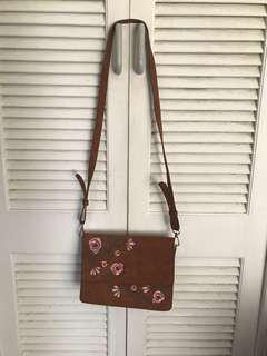Tan Floral Printed Bag