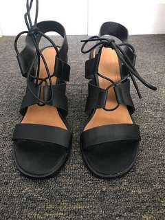 Black Tie Up Block Heels