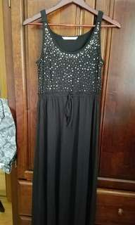 Black Sun Dress with Gold Sequences