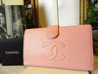 Vintage Chanel櫻花粉魚子醬wallet 17x10cm