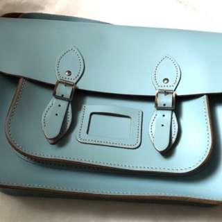 The leather satchel baby blue 英國手工牛皮劍橋包 嬰兒藍 cambridge