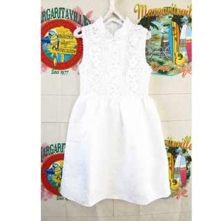 韓系高雅米白色氣質無袖 洞洞 蕾絲 緹花 雕花 壓紋洋裝S