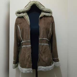 WA725 Big Chill Brown Winter Hoodie Jacket (see pics for Measurements and flaw)