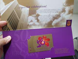 Collectors' item.  OUB 50th Anniversary Commemorative MRT Card