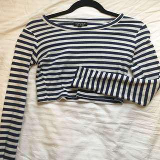 topshop blue and white striped crop top