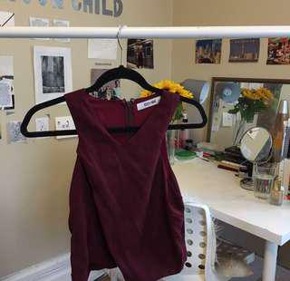 do&be burgundy faux suede tank