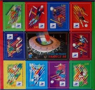 France 98法國世界杯郵票小版張