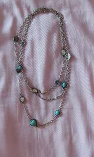 Silver Gem & Stone Layered Necklace