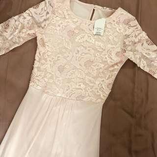 Miss selfridge peach long gown