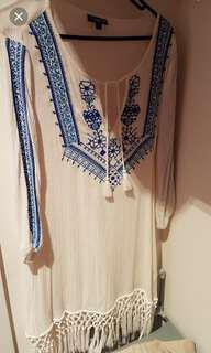 Embroidery fringe dress