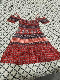 Aztec off the shoulder dress