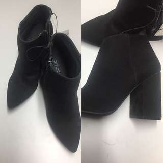 H&M black suede heeled boots
