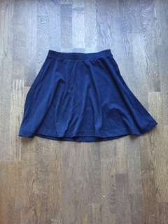 Cotton high-waist navy skirt