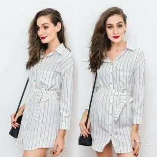 🍃Waisted String Striped Polo Dress