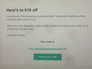 Deliveroo 10 dollar off voucher
