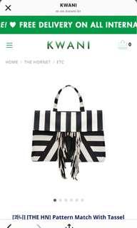 全新韓國著名品牌kawani條紋流蘇帆布包