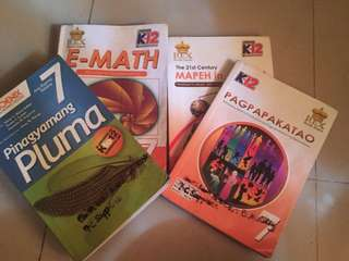 E math book, pagpapakatao, the 21st mapeh in action and PLUMA grade 7 BOOKS! ( rex )