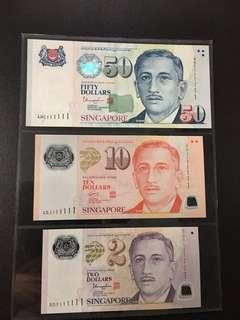 Yusof $2 $10 $50 (UNC) 5DY/4GJ/4HC 111111
