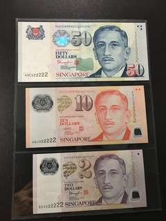 Yusof $2 $10 $50 (UNC) 5DY/4GJ/4HC 222222