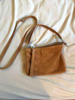 Anthropologie Leather/suede cognac cross body