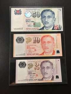 Yusof $2 $10 $50 (UNC) 5DY/4GJ/4HC 333333