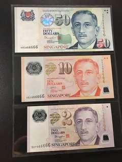 Yusof $2 $10 $50 (UNC) 5DY/4GJ/4HC666666