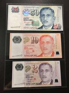 Yusof $2 $10 $50 (UNC) 5DY/4GJ/4HC 777777