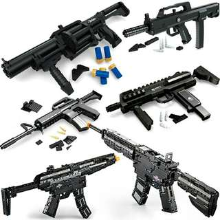 Assorted brick rifles and pistols