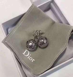 Dior 同款 CD 珍珠 鏤空 耳環 純銀針