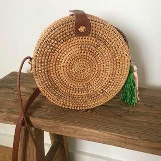 Circle Rattan Bag with removable tassels