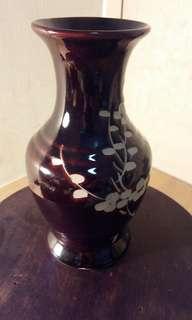 大象材雕,瓷器花瓶