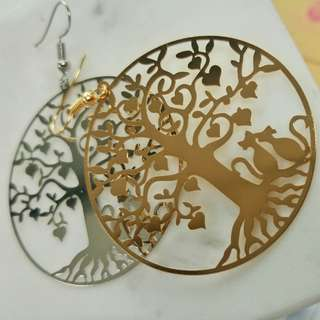 Cat lovers under heart tree earrings