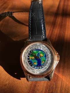 Patek Philippe 5131R World Time Rose Gold - on brown leather strap w Enamel Dial (2018)
