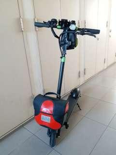 LTA Compliant - Very quiet escooter w dolly wheels & brompton carrier block.