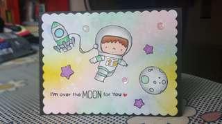 Handmade Greeting Card - Space explorer