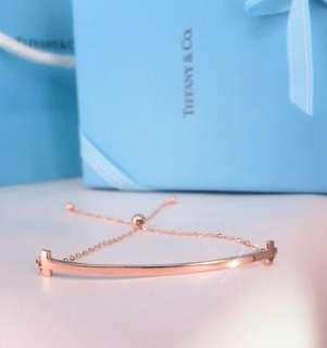 微笑的弧度線條幾何18k玫瑰金可調節手鏈🎁可刻字閨蜜女朋友生日禮物推薦