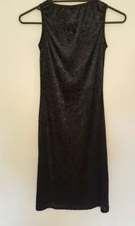 Warehouse Croc Print Textured Mid Length Dress UK 10
